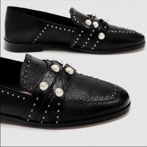 NWT Zara Leather Loafers with Pearls